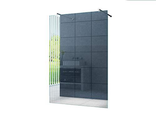 Freistehende 10 mm Duschabtrennung Düsseldorf 120 x 200 cm Klarglas/Walk-In Duschtrennwand Duschwand Dusche/Runde Haltestange