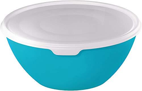 Rotho Caruba Schüssel 8l mit Deckel, Kunststoff (PP) BPA-frei, transparent/blau, 8l (36,0 x 36,0 x 16,0 cm)