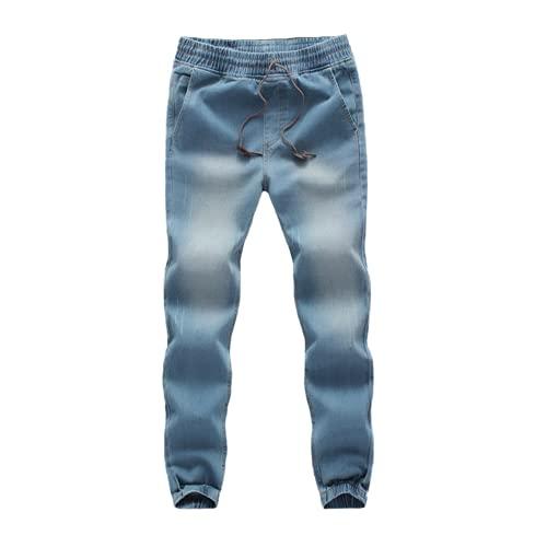 N\P Spring Loose Stretch Denim Boyfriend Jeans Mens Waist Trousers Boys Casual