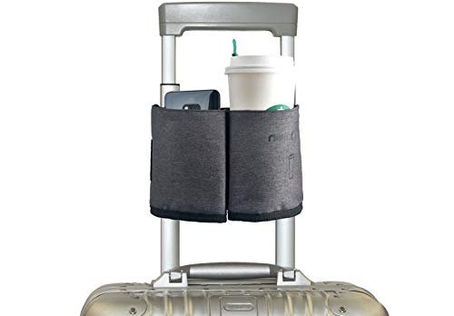 riemot Luggage Travel Cup Holder Free Hand Drink Caddy - Hold Two Coffee Mugs - Fits Roll on Suitcase Handles - Gifts for Flight Attendants Travelers Accessories