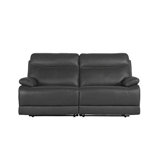 BHDesign Carter - Sofá reclinable moderno de piel auténtica, color gris