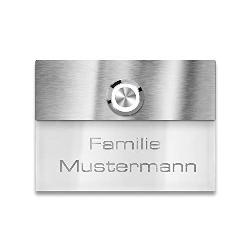Türklingel in weiß mit Gravur-Service und LED beleuchtetem Klingeltaster (verschiedene Farben wählbar), Edelstahl V2A Klingelplatte, Unterputz - Maße: 110 x 80 mm