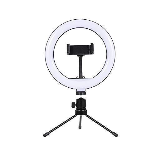 Fesjoy Vidéo Ring Light, Lámpara de Selfie de luz de anillo de video de escritorio LED de 8 pulgadas con soporte de trípode de escritorio Reemplazo de enchufe USB para transmisión en vivo de YouTub