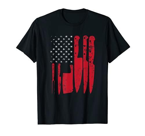 American Flag Kitchen Butcher Knife Set T-Shirt
