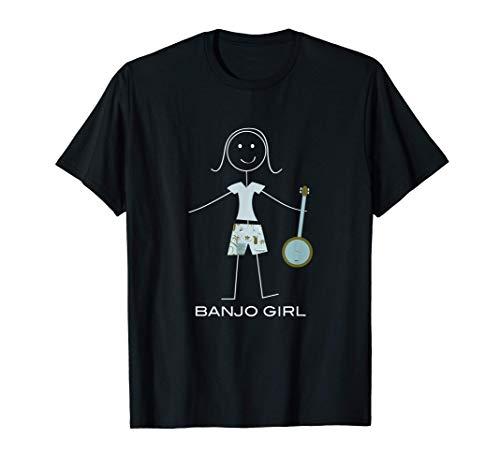Banjo de mujeres divertidas, regalos de músico de niña Camiseta