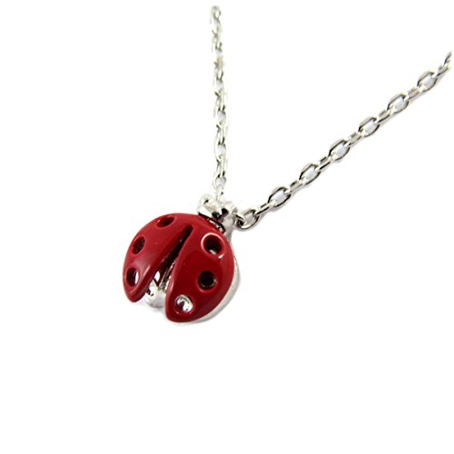 7bis [Q1490 - Necklace handcrafted 'Coccinelle' red silvery - 7x6 mm (0.28''x0.24'').