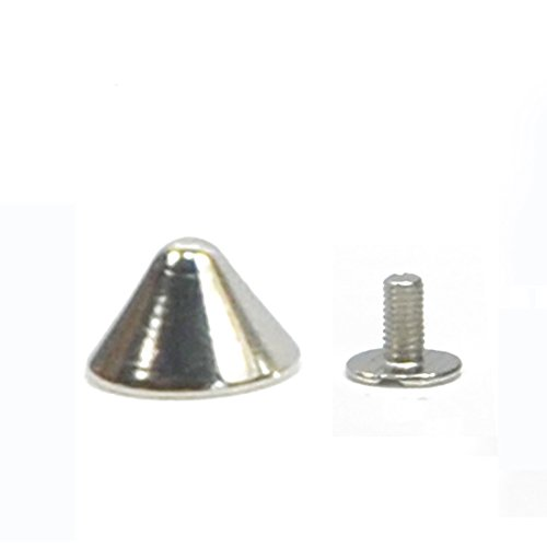 Angelakerry 10pcs Silver Rivet Cone Spikes Spots Screw Studs Punk Leather Rock Back Craft DIY Bullet
