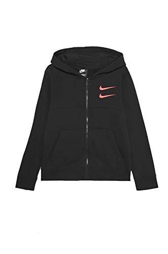 Nike Kinder Swoosh Fz Unterjacke, Black/Black/Ember Glow, XS