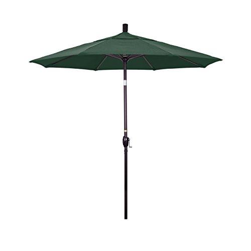 California Umbrella GSPT758117-F08 7.5' Round Aluminum Market, Crank Lift, Push Button Tilt, Bronze Pole, Olefin Hunter Green Patio Umbrella, Canvas
