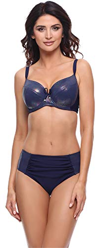 Merry Style Damen Bikini Set P618114EB (Glänzend Dunkelblau, Cup 75 G/Unterteil 38)