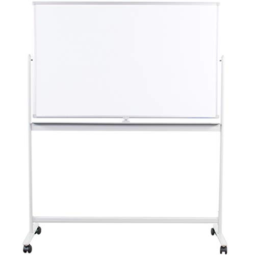 VIVO Mobile Dry Erase Board 48 x 32 inches, Double Sided Magnetic Whiteboard, Rolling Stand with Aluminum Frame, CART-WB48A