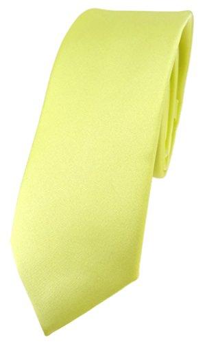 TigerTie schmale Designer Krawatte in zitronengelb einfarbig Uni - Tie Schlips