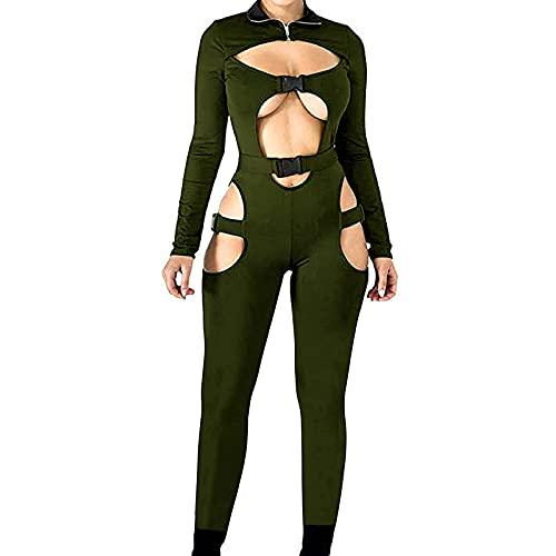 Mono sexy de manga larga con hebilla y cierre de cremallera para mujer Y2K Sportswear, verde militar Z, S