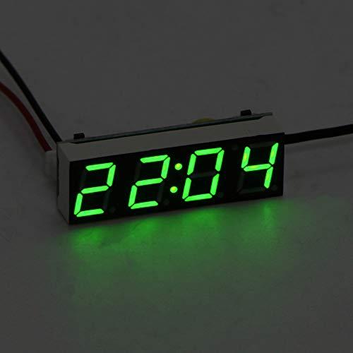Auto Elektrische Uhr, ABEDOE 3 in 1 Uhr Thermometer Voltmeter Digital Timer Uhr Led-anzeige Auto Timer Mini Tragbare Auto Uhr (Grün)