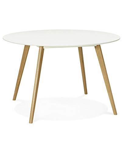 Kokoon Camden Table à Diner Design en, Chêne, Blanc, 120x120x75 cm