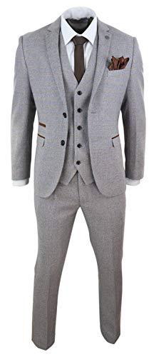 Herrenanzug 3 Teilig Creme Tweed Design Peaky Blinders Stil Kariert - Creme 56EU/46UK Sakko- 40