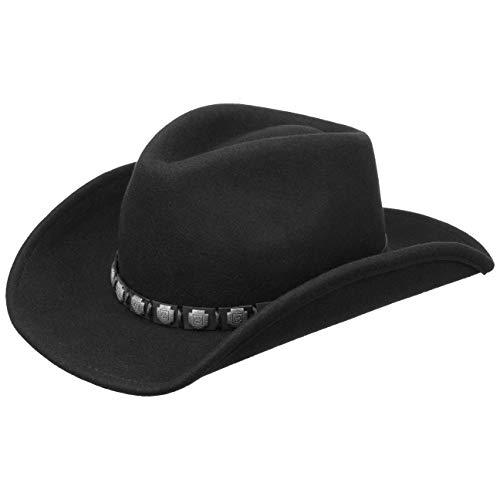 Stetson Sombrero del Oeste Hackberry Hombre - de Lana Vaquero Fieltro con Banda Piel Verano/Invierno - L (58-59 cm) Negro