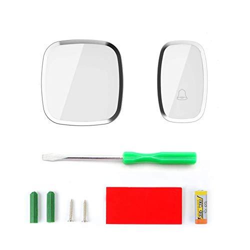 wkwk Timbre inalámbrico,portátil,Resistente a la Intemperie,Enchufe de Pared,Kit de Timbre de Puerta inalámbrico,indicador LED,4 Niveles de Volumen,1 botón y 1 Receptor Que no requieren batería