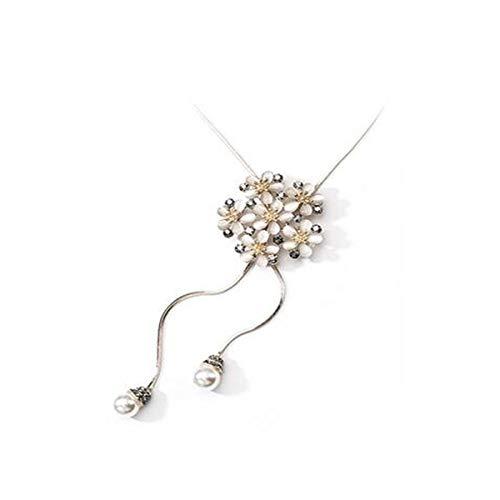 DQH Fqdqh 925 Regalo de la joyería clavícula Cadena de Moda Joven Colgante Collar de cumpleaños (Color : Light Gold, Size : 98cm)
