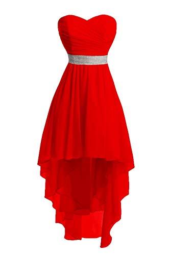 JAEDEN Ballkleider Damen Brautjungfernkleid Hochzeit Partykleid Herzausschnitt Abendkleid Vorne Kurz Hinten Lang Rot EUR48