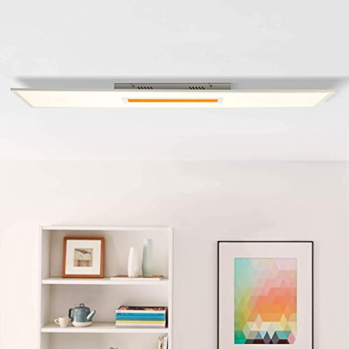 LED Panel Deckenleuchte, 120x30cm, 37 Watt, RGB Farbwechsel per Fernbedienung steuerbar, 2700-6500 Kelvin; Metall/Kunststoff, Weiß