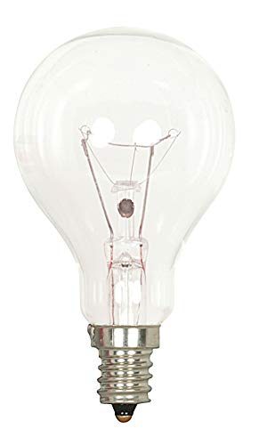 Satco S2740 120V Candelabra Base 40-Watt A15 Light Bulb, Clear