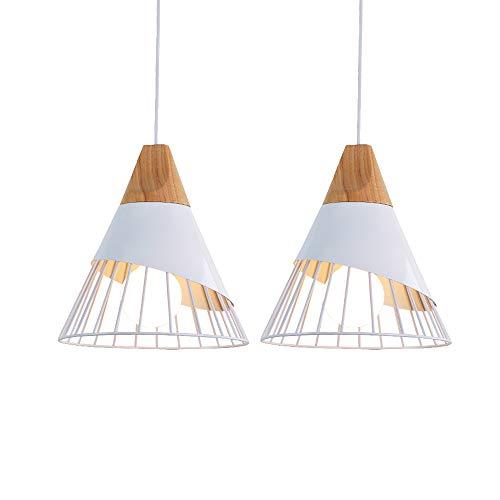 2 pz Nordic moderno stile minimalista Lampada a sospensione In legno Creativo Vintage Lampadario in ferro E27 regolabile in altezza Lampada da soffitto Per camera da letto Restaurant caffè (Bianca)
