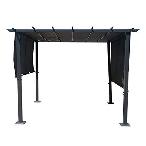 OUTLIV. Pavillon, Pergola, Partyzelt 300x300 cm aus Aluminium/Textilene in Anthrazit/Grau