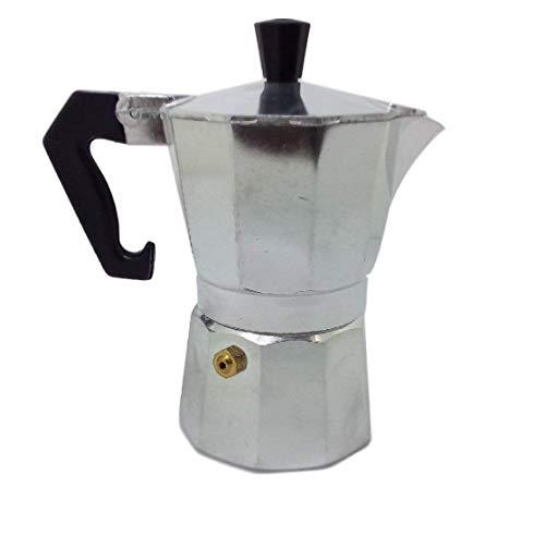 Ducomi Moka Express Espressokocher aus Aluminium – thermischer Griff für Kaffee, cremig und speziell, erfüllt oder erstattet 1/2 Tazza silber/schwarz