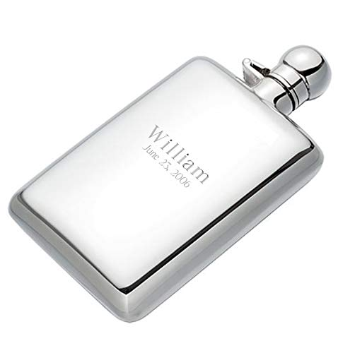 Cunill Personalized 925 Sterling Silver 4oz Hip Flask, Custom Engraved Silver Flask for Liquor, Spirits, Whiskey