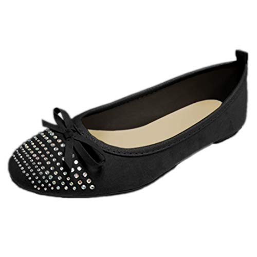 Gold Toe Womens Microsuede Ballet Flats Rhinestone Detail, Cushioned Insoles,Easy Slip On/Off (Black,7)