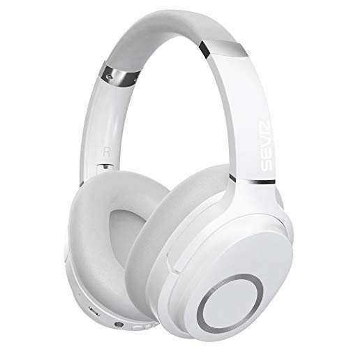 SEVIZ 11 Wireless Bluetooth Headphones, 40 Hours, The Best Sound and Powerful bass, Noise canceling, Ear-Friendly earpads, Foldable, Built-in Microphone, Stereo Headphones, White