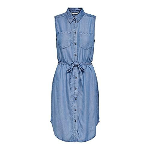 ONLY Damen ONLCLAIRE Belt DNM Dress Kleid, Medium Blue Denim, L