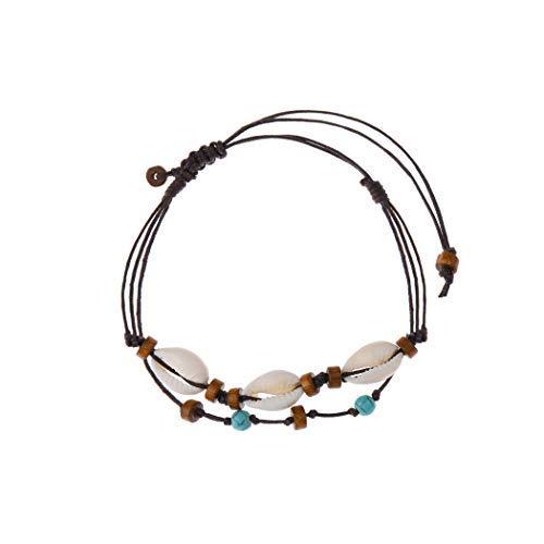 Simsly Fashion Fußkettchen mit türkisfarbenen Perlen, Fußkettchen aus geflochtenem Muschel, Accessoires für Damen und Mädchen JL-131