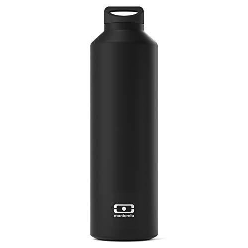 monbento - MB Steel schwarz Onyx Edelstahl Trinkflasche BPA frei - Thermosflasche 500 ml mit Infuser
