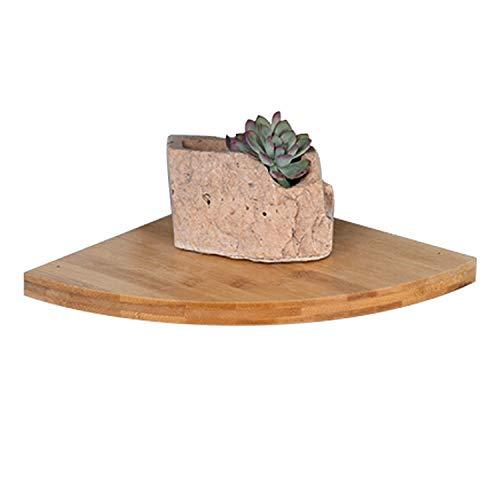 Savorliving Mensola angolare in legno, per bagno, camera da letto, soggiorno, cucina, ufficio, legno di bambù, large