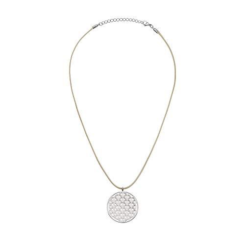 Halskette Blume des Lebens Anhänger - Unisex – versilbert - 5 G Protect - Chakra Energetisierung - 3,5 cm Durchmesser - 39 cm lang – Elektrosmog Schutz