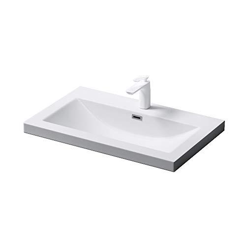 Einbau-Waschbecken Col01 Waschschale Waschtisch Mineralguss Rechteckig 1 Armaturenloch Überlauf-Funktion Breite: 76,5cm