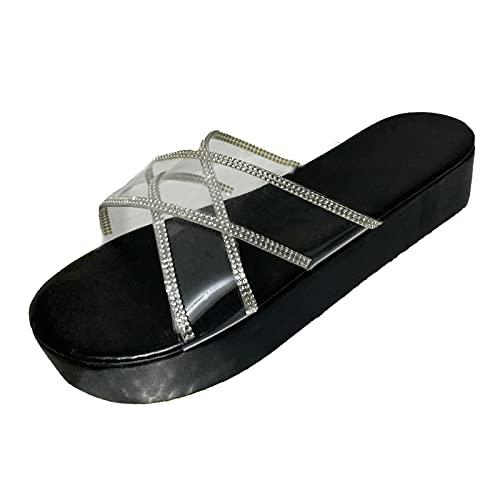 Women Summer Fashion High Heel Sandals Non Slip Outdoor Shoes,Ladies Casual Dressy Comfy Platform Casual Shoes Summer Beach Travel Slipper Flip Flops