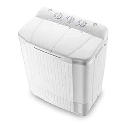 MOUTALE Mini Twin Tub Washing Machine (7kg Washing + 5kg Drying) Compact Portable Washing Machine And Spin Dryer, White