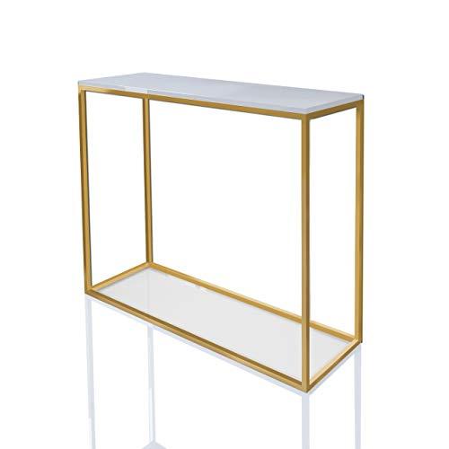 LUK Furniture Konsole MODERN Gold Matt 100 cm Weiß Hochglanz Schminkkonsole HG Konsolentisch Tisch Beistelltisch Wohnzimmertisch Flurtisch Dekotisch Eingangsbereich Metallrahmen (Weiß Hochglanz)