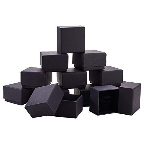 BENECREAT 24 Pack Negra Caja de Joya Caja de Cartón Craft con Almohadilla de Terciopelo Elegante para Presentación de Anillo 5.7x5.7x3.7cm