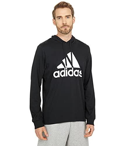 adidas Men's Standard Essentials Logo Hoodie, Black/White, Small