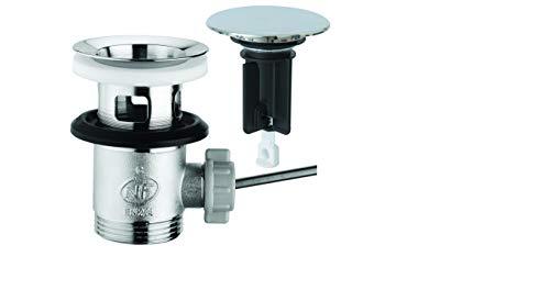 SANTRAS Desagüe excéntrico Premium para lavabo con protección contra rebosadero en cromo, conjunto completo con tapón de desagüe en 1 ¼ para grifo con barra de tracción