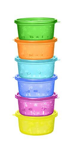NIP Snackbox voor peuters en baby's, met schattig motief, BPA-vrij, Made in Germany, 300 ml inhoud, set van 6