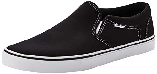 Vans Herren Asher Slip On Sneaker, Schwarz ((Canvas) Black/White 187), 48 EU