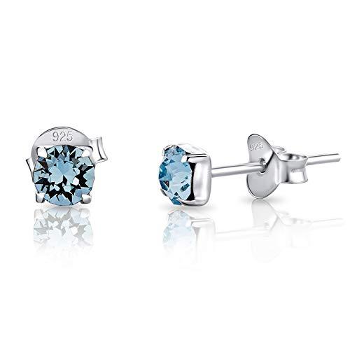 DTPsilver® Semental Pendientes/Aretes Cuadrados de Plata de Ley 925 con Cristales Swarovski® Elements Minúsculos Redondos - Diámetro: 4 mm