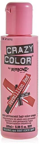 Renbow Crazy Color Color de cabello Crema Coloración Semi-permanente 40 Vermillion Rojo - 100 ml