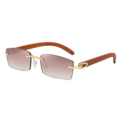Tanxianlu Gafas de Sol para Mujer, sin Montura, Uv400, sin Marco, Gafas de Sol de Moda para Hombres, Lentes de Colores, Grano de Madera Masculino, Oro, Azul, Verde,A