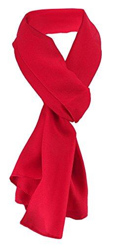 TigerTie Damen Chiffon Halstuch rot verkehrsrot Uni Gr. 160 cm x 36 cm - Schal